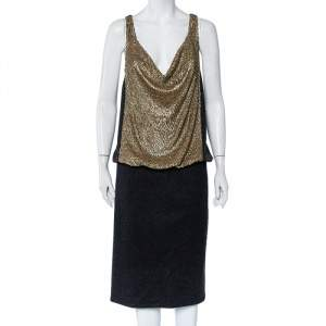 Tory Burch Charcoal Sequin Embellished Wool Midi Dress XL