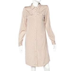 Tory Burch Beige Polka Dot Print Stretch Silk Brigitte Shirt Dress L