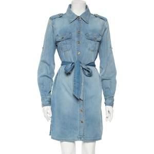 Tory Burch Blue Denim Belted Brigette Demi Shirt Dress M
