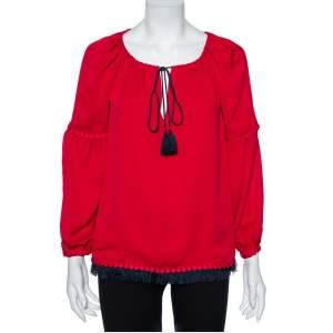 Tory Burch Red Crepe Silk Sylvie Tunic S