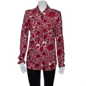 Tory Burch Red Floral Print Jersey Button Down Shirt L