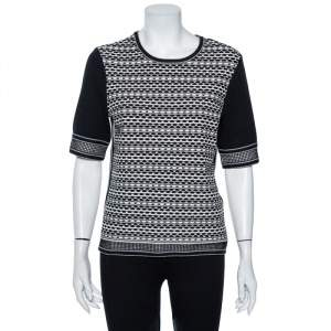 Tory Burch Monochrome Knit Monique Brick Tuck Stitched Top M