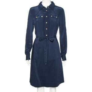 Tory Burch Navy Blue Cotton Emmanuelle Belted Shirt Dress M