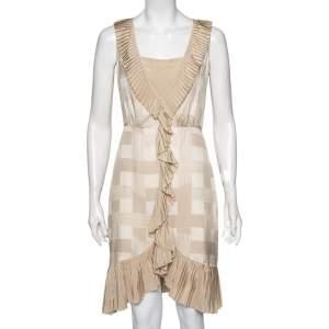 Tory Burch Tapioca Tan Georgette Janetta Night Out Midi Dress S