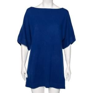 Tory Burch Indigo Cashmere Short Sleeve Sweater M