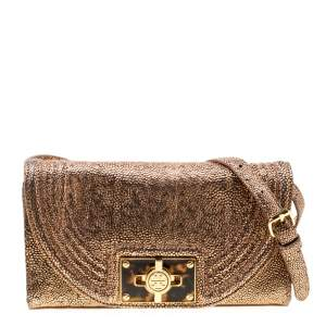 Tory Burch Rose Gold Textured Leather Clutch