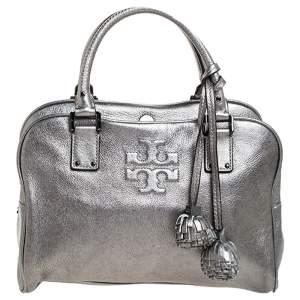 Tory Burch Metallic Dark Grey Boston Bag