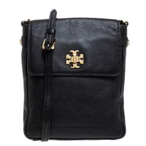 Tory Burch Black Leather Messenger Bag