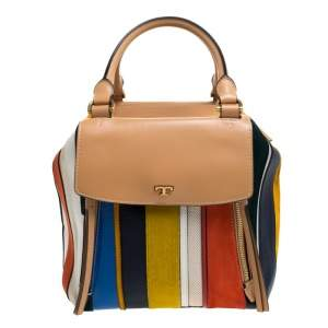 Tory Burch  Multicolor Leather/Suede/Calfhair and Canvas Balloon Stripe Half Moon Satchel