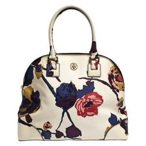 Tory Burch Multicolor Floral Print Coated Canvas Large Robinson Dome Satchel