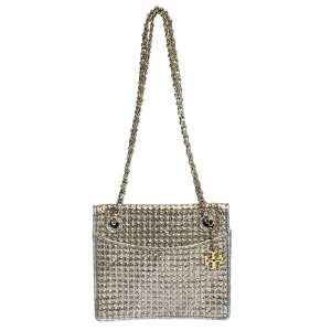 Tory Burch Metallic Silver Leather and Glitters Flap Shoulder Bag