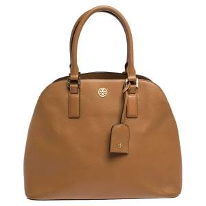 Tory Burch Brown Leather Robinson Dome Satchel