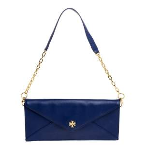 Tory Burch Blue Leather Robinson Envelope Chain Clutch