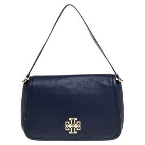 Tory Burch Dark Blue Leather Flap Shoulder Bags