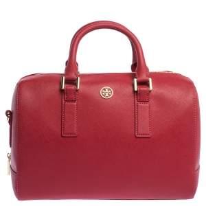 Tory Burch Red Leather Medium Robinson Boston Bag
