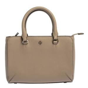 Tory Burch Taupe Leather Robinson Tote