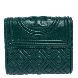 Tory Burch Green Leather Fleming Trifold Wallet