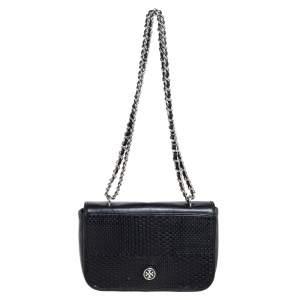 Tory Burch Dark Blue Leather Woven Flap  Chain Shoulder Bag