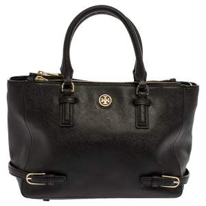 Tory Burch Black Leather Small Robinson Tote