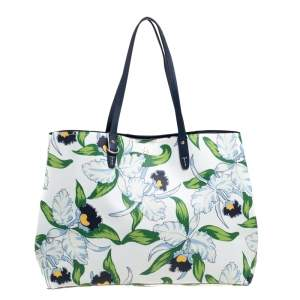 Tory Burch Floral Print Leather Kensington Tote