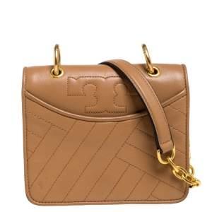 Tory Burch Brown Leather Mini Alexa Shoulder Bag