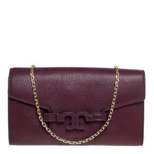 Tory Burch Burgundy Leather Chain Clutch