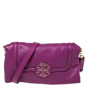 Tory Burch Purple Leather Amanda Foldover Shoulder Bag