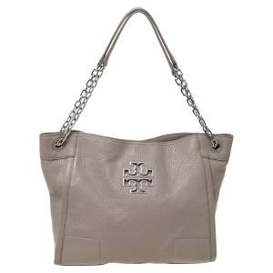 Tory Burch Light Grey Grained Leather Britten Chain Tote