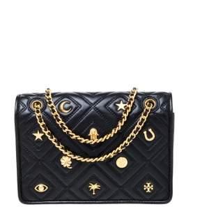 Tory Burch Black Leather Small Farida Fleming Charm Shoulder Bag