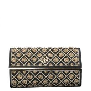 Tory Burch Black Quilted Suede Bria Embellished Flap Clutch