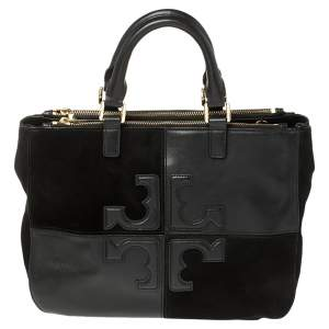 Tory Burch Black Leather and Suede Natalie Satchel