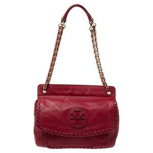 Tory Burch Red Soft Leather Marion Shoulder Bag