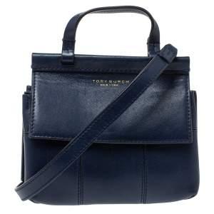 Tory Burch Navy Blue Leather Mini Block T Top Handle Bag