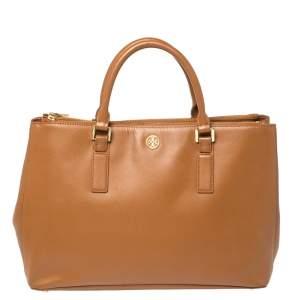 حقيبة يد توري برش روبينسون كبيرة الحجم سحاب مزدوج جلد بني فاتح