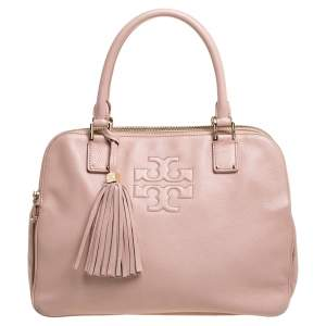 Tory Burch Powder Pink Leather Thea Double Zip Satchel