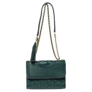 حقيبة كتف توري برش صغيرة فليمنغ جلد أخضر