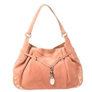 Tod's Pink Pleated Suede Charm Shoulder Bag
