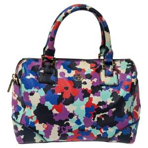 Tory Burch Multicolor New Camouflage Floral Leather Robinson Satchel
