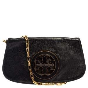 Tory Burch Black Leather Reva Logo Crossbody Bag
