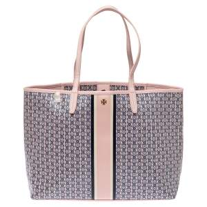 Tory Burch Pink Coated Canvas and Leather Small Gemini Link Tote