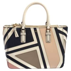 Tory Burch Multicolor Fret Patchwork Leather Robinson Tote