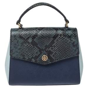 Tory Burch Blue Snake Embossed and Leather Robinson Top Handle Bag