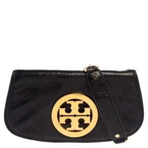 Tory Burch Black Crinkled Leather Reva Logo Crossbody Bag