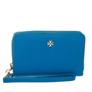 Tory Burch Blue Leather Robinson Zip Around Wristlet Wallet