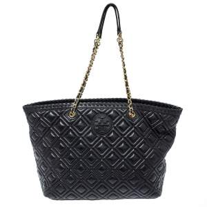 Tory Burch Black Quilted Leather Marion Tote