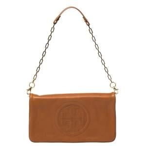 Tory Burch Brown Leather Reva Shoulder Bag
