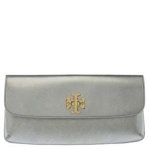 Tory Burch Metallic Silver Leather Slim Diana Flap Clutch