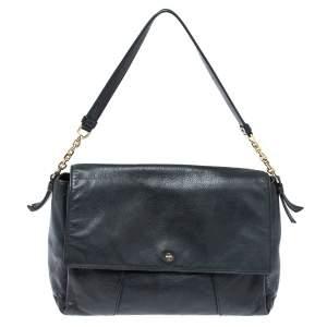 Tory Burch Black Leather Cass Flap Shoulder Bag