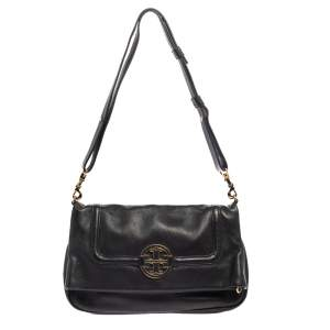 Tory Burch Black Leather Amanda Foldover Crossbody Bag