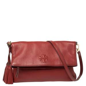 Tory Burch Red Leather Thea Tassel Fold Over Crossbody Bag